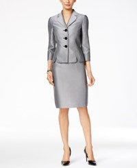 Le Suit Three Button Herringbone Skirt Silver