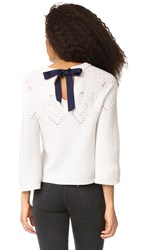 Autumn Cashmere Cropped Sweater With Back Tie Frost Navy