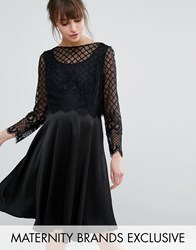 Queen Bee Skater Dress With Satin Skirt And Caged Lace Overlay Black