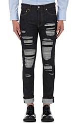 Junya Watanabe Man Comme Des Garcons Men's Overstitched Patchwork Slim Jeans Blue