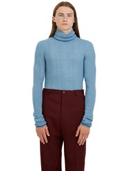 Lanvin Long Ribbed Roll Neck Sweater Blue
