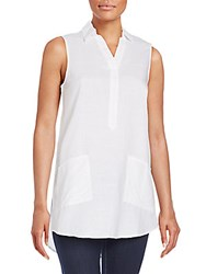 August Silk Linen And Cotton Sleeveless Tunic Top White