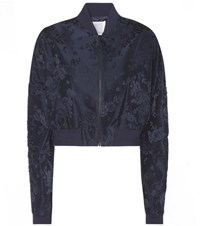 Rosie Assoulin Cropped Jacquard Bomber Jacket Blue