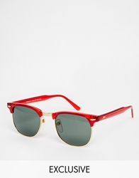 Reclaimed Vintage Clubmaster Sunglasses Red
