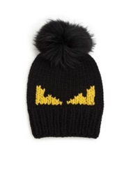 Fendi Monster Fur Pom Pom Beanie Black Yellow