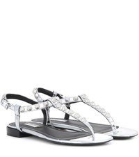 Balenciaga Giant Studded Metallic Leather Sandals Silver