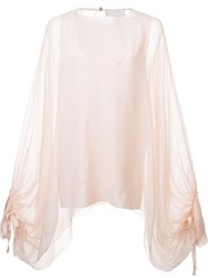 Chloe Oversized Sleeve Sheer Blouse Pink And Purple