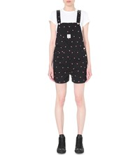 Chocoolate Watermelon Motif Denim Dungarees Black