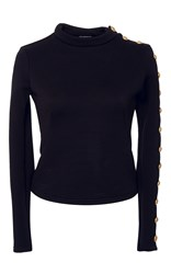 Alexis Mabille Textured Jersey Buttoned Top Black