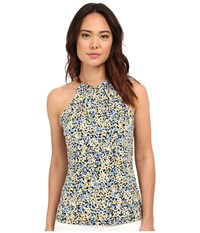 Michael Michael Kors Leather Trim Neck Halter Top Sunflower Crew Blue Women's Clothing Gray