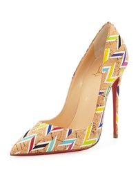 Christian Louboutin So Kate Chevron Cork Red Sole Pump Multi Women's Size 40.5B 10.5B Chevron Multi