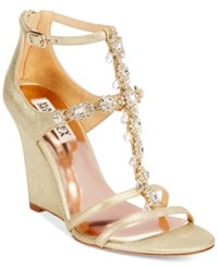 Badgley Mischka Cashet Ii Evening Wedge Sandals Women's Shoes Platino