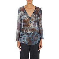 Raquel Allegra Women's Chiffon Split Neck Blouse Blue