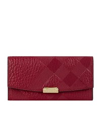 Burberry Shoes And Accessories Porter Embossed Check Leather Continental Wallet Female Purple