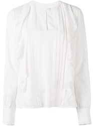 See By Chloe Embroidered Ruffled Blouse Pink And Purple