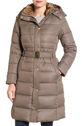 Cole Haan Signature Women's Belted Down And Feather Fill Long Coat With Faux Fur Trim Caper