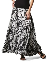 Indikka Knit Waist Paisley Maxi Skirt Women's Black White