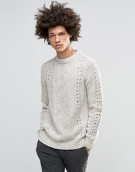Asos Jumper With Cable Crochet Detail Beige