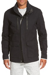 Vince Leather Trim 3 In 1 Canvas Jacket Black