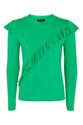 Topshop Long Sleeve Ruffle T Shirt Bright Green