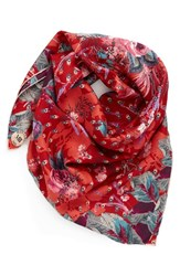 Christian Lacroix Women's Mantero 'Bouquet' Silk Twill Scarf Red