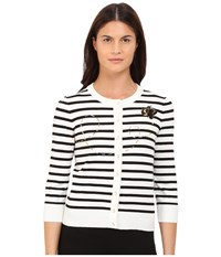 Kate Spade Honey Bee Cardigan Cream Black Women's Sweater Bone
