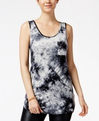 Say What Juniors' Sleeveless Tie Dyed Tunic Black Combo