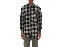 Nsf Men's Raw Edge Buffalo Checked Cotton Shirt Tan