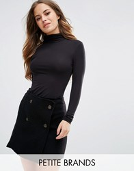 New Look Petite Ruched Roll Neck Top Black Grey
