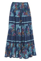 Roman Originals Tropical Print Tiered Maxi Skirt Blue