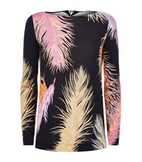Emilio Pucci Feather Print Silk Jersey Top Female Black