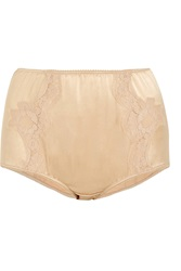 Dolce And Gabbana Lace Trimmed Silk Blend Satin Briefs