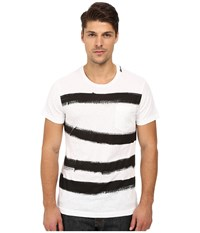 French Connection Anarchy Stripe Tee Optic White Black Men's T Shirt