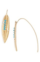 Danielle Nicole Women's 'Enchanted Feather' Drop Earrings Antique Gold Turquoise