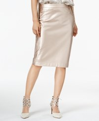 Bar Iii Metallic Faux Leather Skirt Only At Macy's Rose Gold