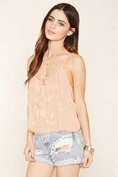 Forever 21 Embroidered Self Tie Cami