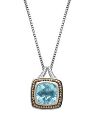 Lord And Taylor Sterling Silver 14Kt. Yellow Gold Sky Blue Topaz Pendant Necklace Blue Topaz Silver