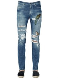 Dolce And Gabbana 17Cm Gold Fit Embroidered Denim Jeans