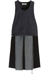 Tim Coppens Cropped Chambray And Pleated Satin Tank Dark Denim