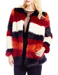 Jessica Simpson Rocky Faux Fur Jacket Red