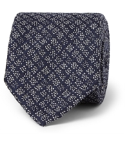 Boglioli Patterned Wool And Silk Blend Tie Blue