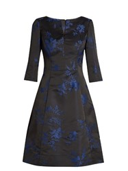 Oscar De La Renta Floral Embroidered Duchess Satin Dress Blue Multi
