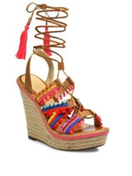 Schutz Mella Jeweled Leather Lace Up Espadrille Wedge Sandals Bamboo