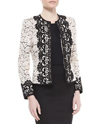 Neiman Marcus Two Tone Lace Jacket Black Pink