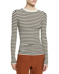 A.L.C. Harmon Ribbed Striped Wool Blend Sweater White Black White Stripes
