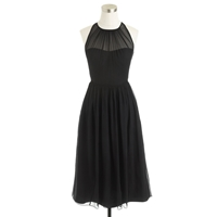 J.Crew Petite Megan Dress In Silk Chiffon Black
