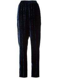 Stella Mccartney High Waisted Velvet Pants Blue