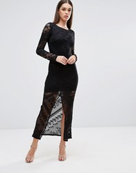 Tfnc Lace Maxi Dress With Front Slit Black