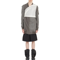 Rick Owens Contained Long Bomber Jacket Dark Gray