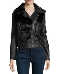 Bagatelle Faux Leather Quilted Sleeve Jacket Black